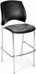 Stars Cafe Height Vinyl Seat Chair with Chrome Frame - Charcoal [328C-VAM-604-MFO]