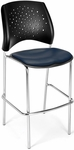 Stars Cafe Height Vinyl Seat Chair with Chrome Frame - Navy [328C-VAM-605-MFO]