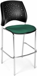 Stars Cafe Height Chair with Fabric Seat and Chrome Frame - Shamrock Green [328C-2201-MFO]