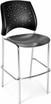 Stars Cafe Height Plastic Chair with Chrome Frame - Black [328C-P-BLK-MFO]
