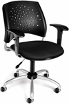 Stars Swivel Chair with Arms - Black [326-AA3-2224-FS-MFO]