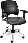 Stars Swivel Chair with Vinyl Seat and Arms - Charcoal [326-VAM-AA3-604-FS-MFO]