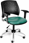 Stars Swivel Chair with Vinyl Seat and Arms - Teal [326-VAM-AA3-602-FS-MFO]