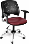 Stars Swivel Chair with Vinyl Seat and Arms - Wine [326-VAM-AA3-603-FS-MFO]