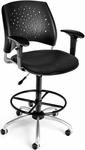 Stars Swivel Chair with Vinyl Seat with Arms and Drafting Kit - Black [326-V-AA3DK-606-FS-MFO]