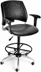 Stars Swivel Chair with Vinyl Seat with Arms and Drafting Kit - Charcoal [326-V-AA3DK-604-FS-MFO]