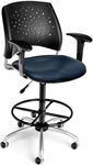 Stars Swivel Chair with Vinyl Seat with Arms and Drafting Kit - Navy [326-V-AA3DK-605-FS-MFO]
