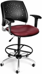 Stars Swivel Chair with Vinyl Seat with Arms and Drafting Kit - Wine [326-V-AA3DK-603-FS-MFO]
