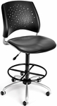 Stars Swivel Chair with Vinyl Seat and Drafting Kit - Charcoal [326-VAM-DK-604-FS-MFO]