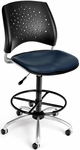 Stars Swivel Chair with Vinyl Seat and Drafting Kit - Navy [326-VAM-DK-605-FS-MFO]