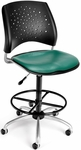 Stars Swivel Chair with Vinyl Seat and Drafting Kit - Teal [326-VAM-DK-602-FS-MFO]