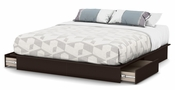 Step One Collection King Platform Bed (78'') with Drawers Chocolate