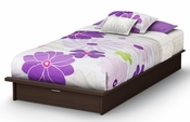 Step One Collection Twin Platform Bed (39'') with Drawers Chocolate