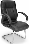 Stimulus Leatherette Executive Mid-Back Guest Chair - Black [518-LX-T-FS-MFO]