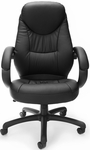 Stimulus Leatherette Executive High-Back Chair with Loop Arms - Black [522-LX-T-FS-MFO]