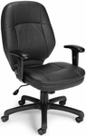 Stimulus Leatherette Ergonomic Mid-Back Task Chair with Arms - Black [521-LX-T-AA-FS-MFO]