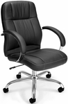 Stimulus Leatherette Executive and Conference Mid-Back Chair - Black [517-LX-T-FS-MFO]