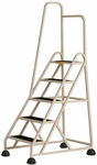 Stop Step 5 Step Ladder with Single Left Handrail - Beige [1051L-19-FS-CRA]