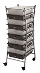 10 Drawer Chrome Frame Storage Cart - Clear and Smoke [SC10CSM-X-FS-ALV]