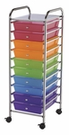 10 Drawer Chrome Frame Storage Cart - Multicolor [SC10MC-FS-ALV]