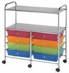 8 Drawer Chrome Frame Storage Cart with 2 Shelves - Multicolor [SC8MCDW-12-S-FS-ALV]