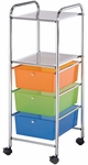 3 Drawer Chrome Frame Storage Cart with 2 Shelves - Multicolor [SC3MC-S-FS-ALV]