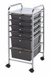 6 Drawer Chrome Frame Storage Cart - Smoke [SC6SM-FS-ALV]