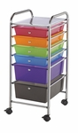 6 Drawer Chrome Frame Storage Cart with Deep Drawer - Multicolor [SC6MC-FS-ALV]