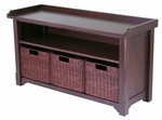 Storage Hall Bench with 3 Baskets [94341-FS-WWT]
