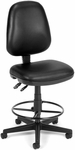 Straton Series Anti-Microbial and Anti-Bacterial Vinyl Task Chair with Drafting Kit - Black [119-VAM-DK-606-FS-MFO]