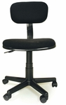 Fabric and PVC Height Adjustable Armless Ergonomic Student Task Chair - Black [C0886F29-FS-INV]