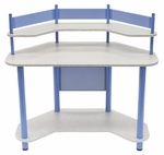 Compact Corner Computer Study Desk - Blue and Splatter Grey [55120-FS-SDI]