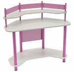 Compact Corner Computer Study Desk - Pink and Splatter Grey [55122-FS-SDI]