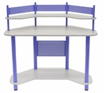 Compact Corner Computer Study Desk - Purple and Splatter Grey [55121-FS-SDI]