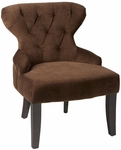 Ave Six Curves Hour Glass Velvet Accent Chair with Solid Wood Legs - Chocolate [CVS26-C12-FS-OS]