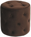 Ave Six Curves Button Tufted Round Ottoman - Chocolate Velvet [CVS905-C12-FS-OS]