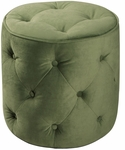 Ave Six Curves Button Tufted Round Ottoman - Spring Green Velvet [CVS905-G28-FS-OS]