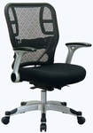 Space Deluxe R2 SpaceGrid® Back Chair with Mesh Seat and Padded Flip Arms - Black [215-3R2C62R5-FS-OS]