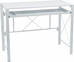 OSP Designs Creston Powder Coated Frame Desk with Pull out Key Board Tray and Storage Compartments - White [CRS25-11-FS-OS]