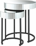 OSP Designs Krystal Steel Frame 2-piece Round Mirror Decorative Nesting Tables [KRY192-A-FS-OS]
