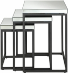 OSP Designs Krystal Steel Frame 3-piece Square Mirror Decorative Nesting Tables [KRY193-A-FS-OS]