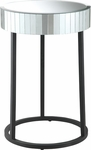 OSP Designs Krystal Steel Frame Round Mirror Accent Table [KRY17-A-FS-OS]