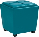 OSP Designs Metro 2-Piece Ottoman Set in Blue Vinyl