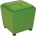 OSP Designs Metro 2-Piece Ottoman Set in Green Vinyl