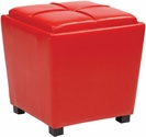 OSP Designs Metro 2-Piece Ottoman Set in Red Vinyl