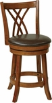 OSP Designs Metro 24'' Faux Leather Cross Back Swivel Barstool - Espresso [MET2324-ES-FS-OS]