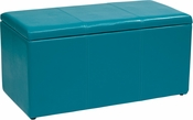 OSP Designs Metro 3-Piece Ottoman Set in Blue Vinyl