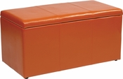 OSP Designs Metro 3-Piece Ottoman Set in Orange Vinyl