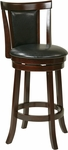 OSP Designs Metro 30'' Faux Leather Swivel Barstool with Footrest - Black [MET2230-BK-FS-OS]