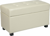 OSP Designs Metro Storage Ottoman/Chest in Cream Faux Leather